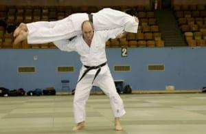 Judoka en projetant un autre.